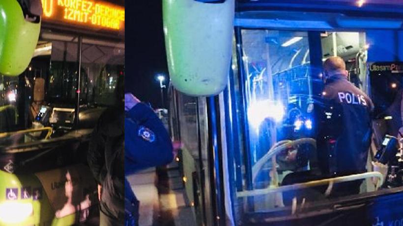 Kocaeli'nde koronavirüs hastası kadın otobüsten inmemek için direndi