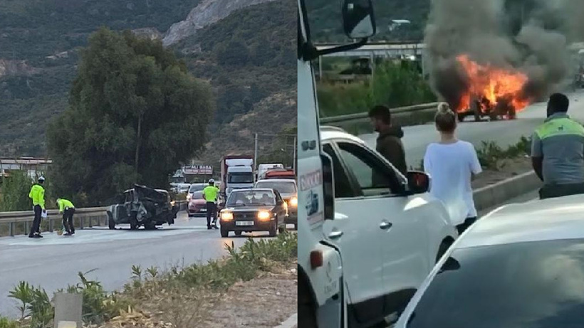 Aydın'da minibüs ve kamyonet ile çarpışan otomobil alev topuna dönüştü
