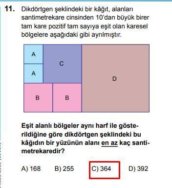 LGS 2020 Matematik 11. Soru ve Cevapı