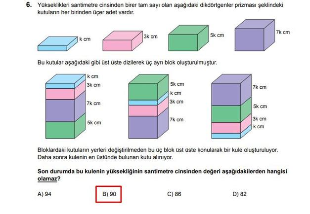 LGS 2020 Matematik 6. Soru ve Cevapı