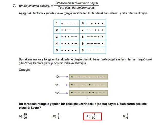LGS 2020 Matematik 7. Soru ve Cevapı
