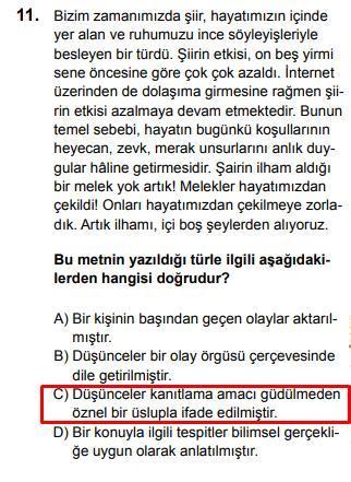 LGS 2020 Türkçe 11. Soru ve Cevapı
