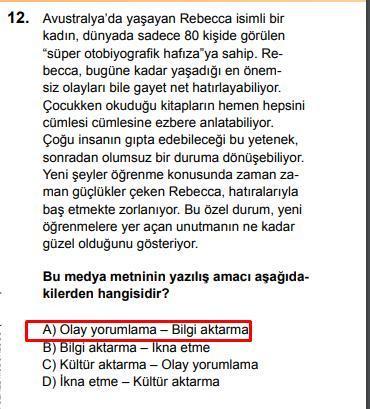 LGS 2020 Türkçe 12. Soru ve Cevapı