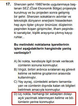 LGS 2020 Türkçe 17. Soru ve Cevapı