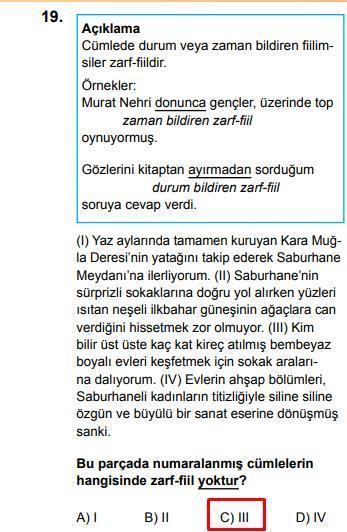 LGS 2020 Türkçe 19. Soru ve Cevapı