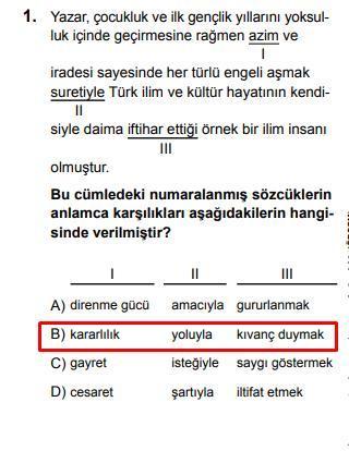 LGS 2020 Türkçe 1. Soru ve Cevapı