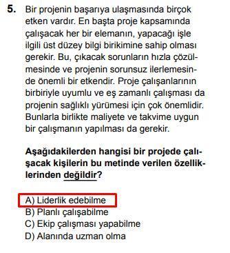 LGS 2020 Türkçe 5. Soru ve Cevapı