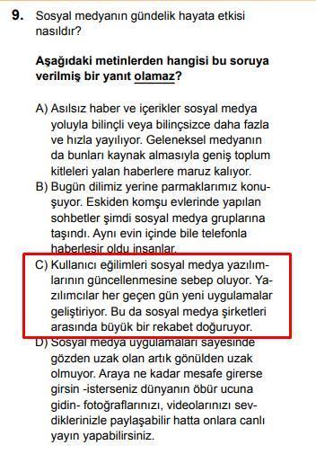 LGS 2020 Türkçe 9. Soru ve Cevapı