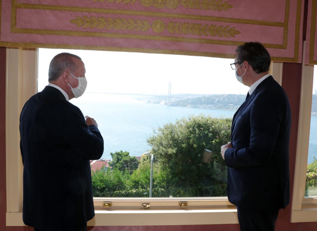 Erdoğan, Vahdettin Köşkü'nde Vucic ile görüştü