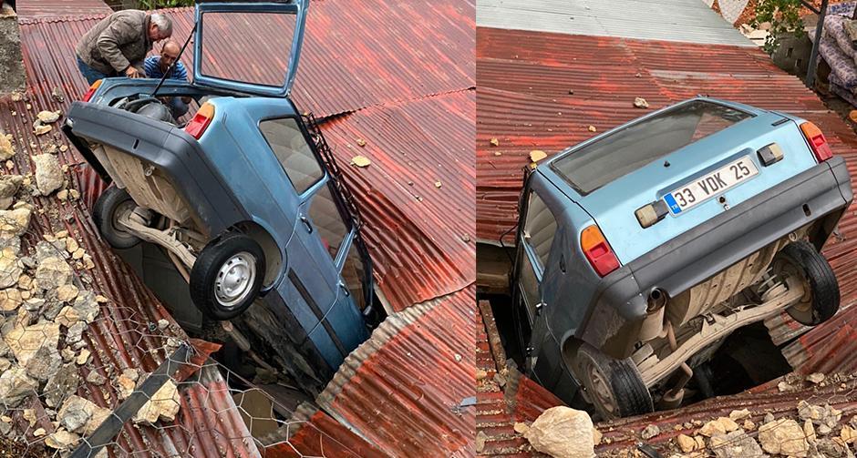 Akıllara durgunluk veren olay! Evin çatısına düştü