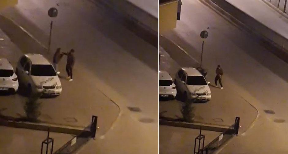 Cadde ortasında genç kadına tokat attı!