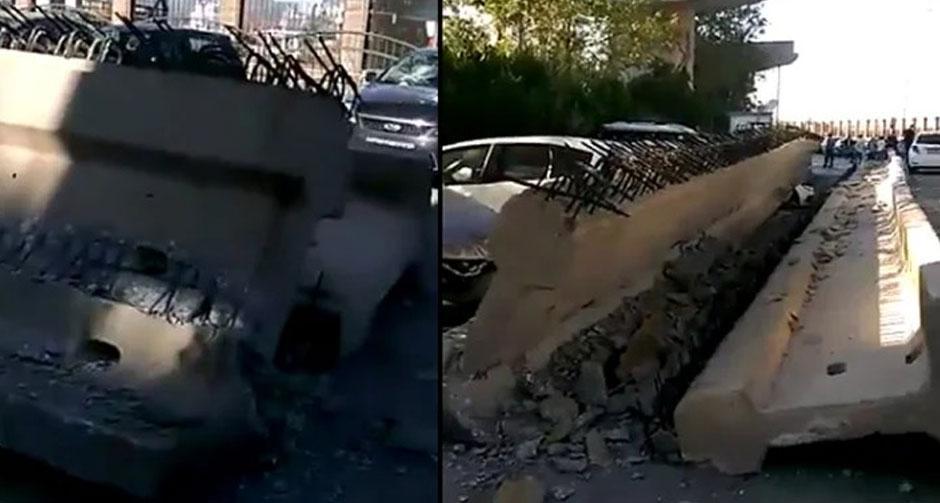 İzmir'de depremde viyadük çöktü! Kolonlar araçların üzerine devrildi
