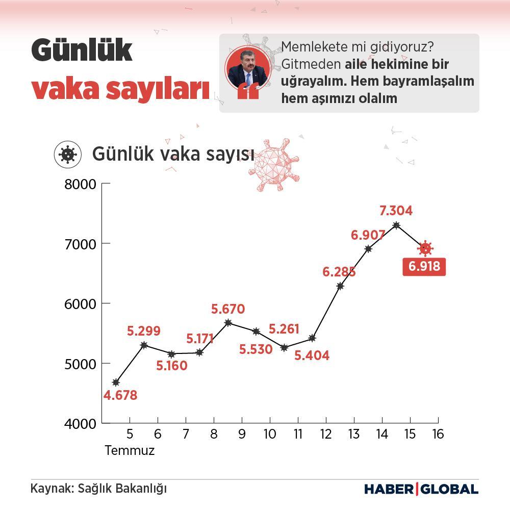 günlük vaka sayısını gösteren infografik